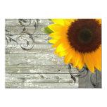 "barnwood sunflower wedding country wedding 4.5"" x 6.25"" invitation card"