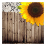 "barnwood sunflower wedding country wedding 5.25"" square invitation card"