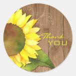 Barnwood Sunflower Wedding Thank You Stickers