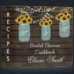 "barnwood Sunflowers in Mason Jar Recipe Folder<br><div class=""desc"">Rustic Barnwood Sunflowers flowers in Mason Jars,  string of lights Bridal shower Recipe Folder</div>"