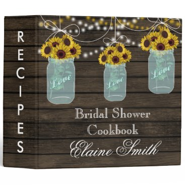 barnwood Sunflowers in Mason Jar Recipe Folder