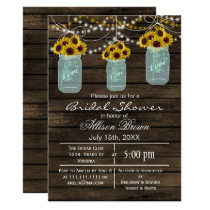 Barnwood sunflowers mason jar rustic bridal shower card