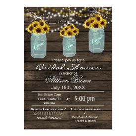 Barnwood sunflowers mason jar rustic bridal shower card