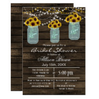 Barnwood sunflowers mason jar rustic bridal shower invitation