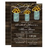 Barnwood sunflowers mason jar rustic bridal shower invitation