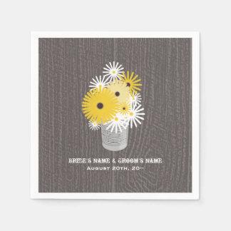 Barnwood + Tin Can Of Wildflowers Wedding Napkins Standard Cocktail Napkin