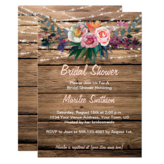 Barnwood Watercolor Fall Wildflowers Bridal Shower Card