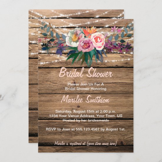 Barnwood Watercolor Fall Wildflowers Bridal Shower Invitation