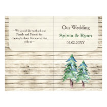 Barnwood watercolor pine bookfold Wedding program