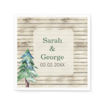 Barnwood watercolor pine personalized napkins