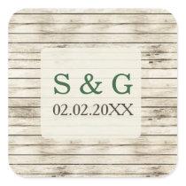 Barnwood watercolor pine wedding favors sticker