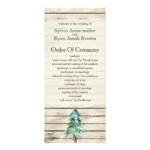 Barnwood watercolor pine Winter wedding programs
