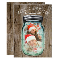 Barnwood Western Country Christmas Mason Jar Photo Card