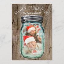 Barnwood Western Country Christmas Mason Jar Photo Holiday Card