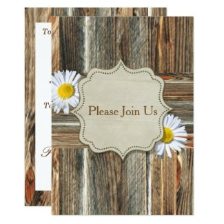Barnwood With Daiseys Invitation Template