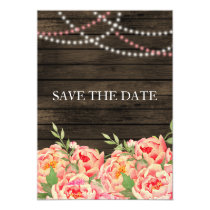 Barnwood Woodsy Peonies Rustic Save the Date Card