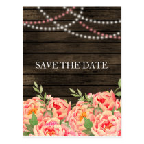 Barnwood Woodsy Peonies Rustic Save the Date Postcard