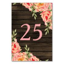 Barnwood Woodsy Peonies Rustic table number Card