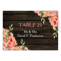 Barnwood Woodsy Peonies Rustic Wedding Place Cards