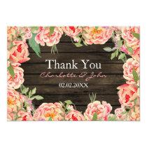 Barnwood Woodsy Peonies Rustic Wedding Thank You Card
