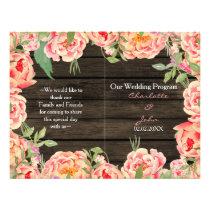 Barnwood Woodsy Peonies Rusticwedding program Flyer