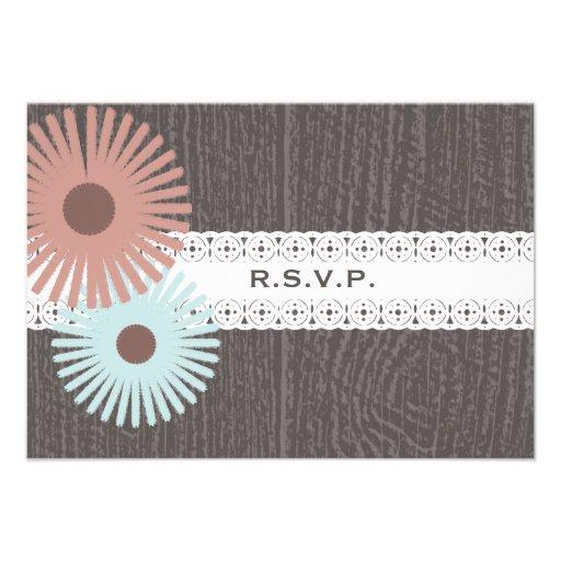 Barnwood y el cordón inspiraron RSVP que se casaba Invitaciones Personalizada