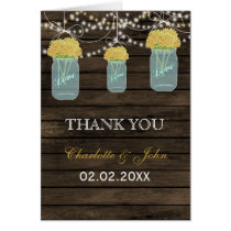 Barnwood yellow floral mason jars  Thank You Card