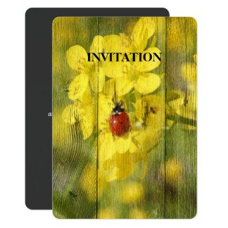 Barnwood Yellow Flower Good Luck Red Ladybug Card