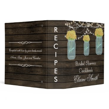 barnwood yellow flowers Mason Jar Recipe Folder