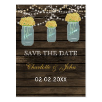 Barnwood yellow flowers mason jars save dates postcard