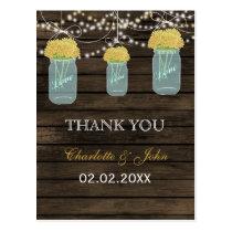Barnwood yellow flowers mason jars Thank You notes