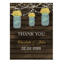 Barnwood yellow flowers mason jars Thank You notes Postcard