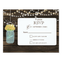 Barnwood  yellow flowers mason jars wedding RSVP Card
