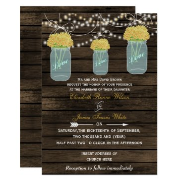 Barnwood, yellow mason jar wedding card