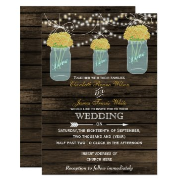 Barnwood, yellow mason jar wedding invitations