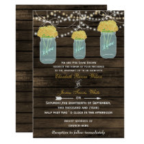 Barnwood, yellow mason jar wedding invites
