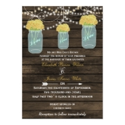 Rustic barnwood yellow flowers in a mason jar wedding invites by mgdezigns