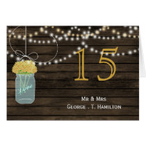 Barnwood yellow mason jars table numbers card