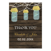 Barnwood  yellow mason jars Thank You Card