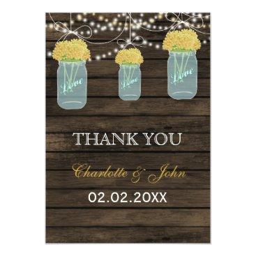 Barnwood  yellow mason jars Thank You Card