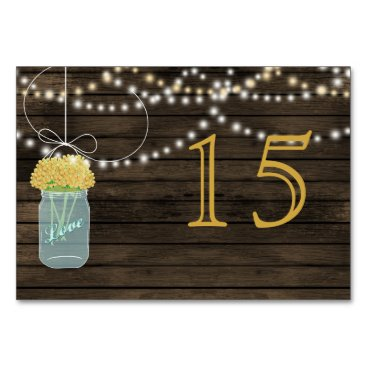 Barnwood yellow mason jars wedding table numbers