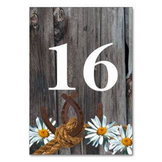 Barnwoood Daisies and Horseshoes Table Number Table Cards
