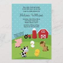 Barnyard Animal Baby Shower Invitation