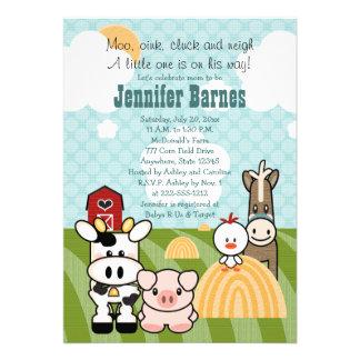 Barnyard Animal Baby Shower Invitations