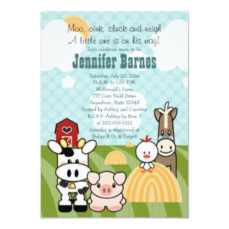 Barnyard Animal Baby Shower Invitations