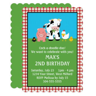 Barnyard Animal Friends Birthday Card