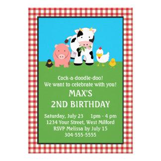 Barnyard Animal Friends Birthday Invitation