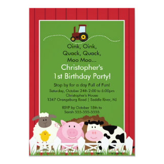 Barnyard Animal Fun Birthday Party Card