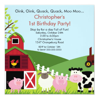 Barnyard Animal Fun Birthday Party Card