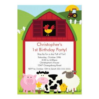 Barnyard Animal Fun Birthday Party Invites